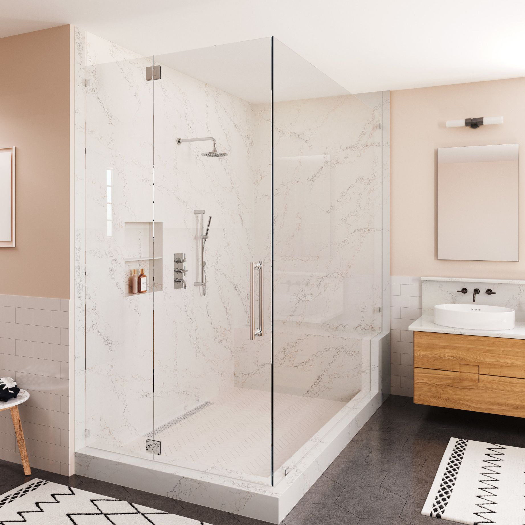 A shower unit in a bathroom  Description automatically generated with medium confidence