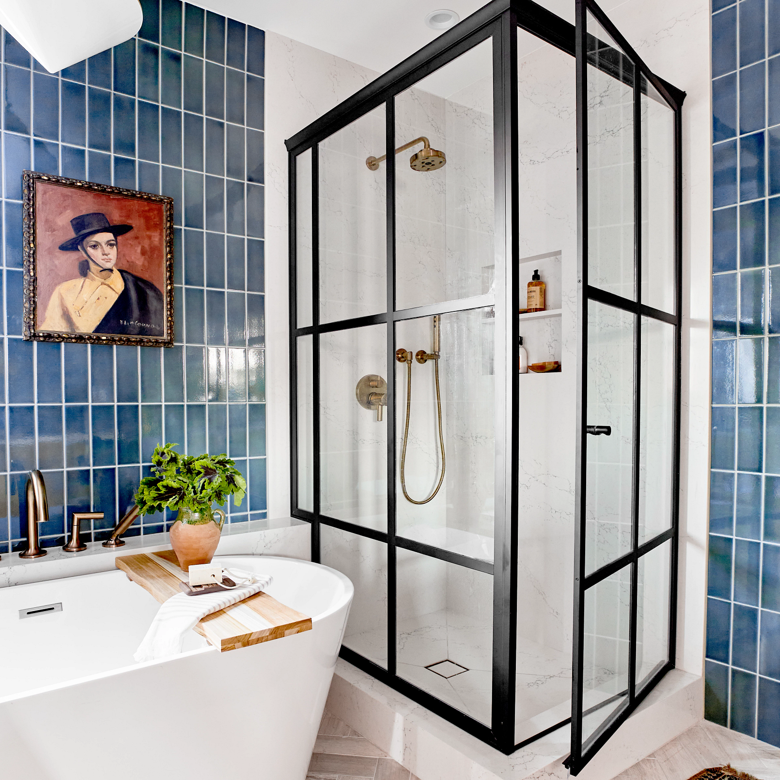 A bathroom with a glass shower  Description automatically generated with low confidence