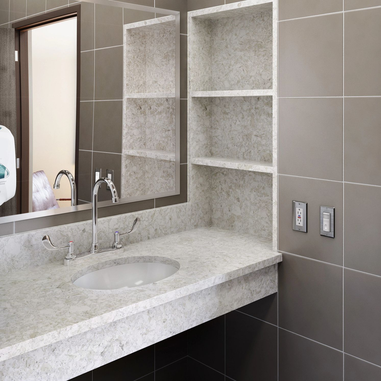 A bathroom with a sink and a mirror  Description automatically generated with low confidence